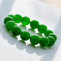 achat en gros de des bijoux en jade vert-14mm Malaise Jade Bijoux Bracelet Tressé Vert de la Chaîne de Bracelet 12pcs/lot Freeshipping