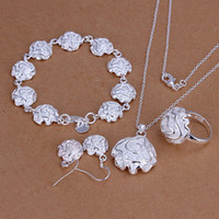 Wholesale Fashion Gift Silver Plated Necklace Bracelet Earring Ring Rose Jewelry Set Women YT270