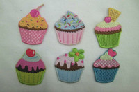 Wholesale Multi Styles Cupcake Embroidered Iron On Patch applique DIY Sewing Knitting Supplies