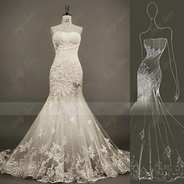 Wholesale Fashion Style Crystals Lace Feather Strapless Beads Ruffle Mermaid Wedding Dresses With Sweep Strain