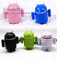 Wholesale 100PCS Super Cute Google Android Robot USB Mini Speaker For Iphone Ipad Touch Laptop Mixed Color