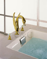 Wholesale Noble Luxury Swan Shape Crystal Bathroom Sink Faucet Hole Mixer Tap Gold Plating S