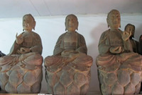Wholesale quot China Buddha Hall Old Wood handwork Carved three Sakyamuni Buddha statue Set