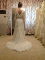 Wholesale 2013A Line Strapless Ruffers Chiffon Long sleeve V sash Floor Length Wedding Dresses