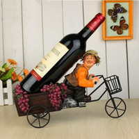 bicycle wine bottle holder - Straw hat farmer riding a tricycle wine rack Piece Bicycle Wine bottle HOLDER Christmas Gift