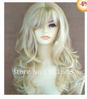 Wholesale Beautiful long blonde curly made hair wig
