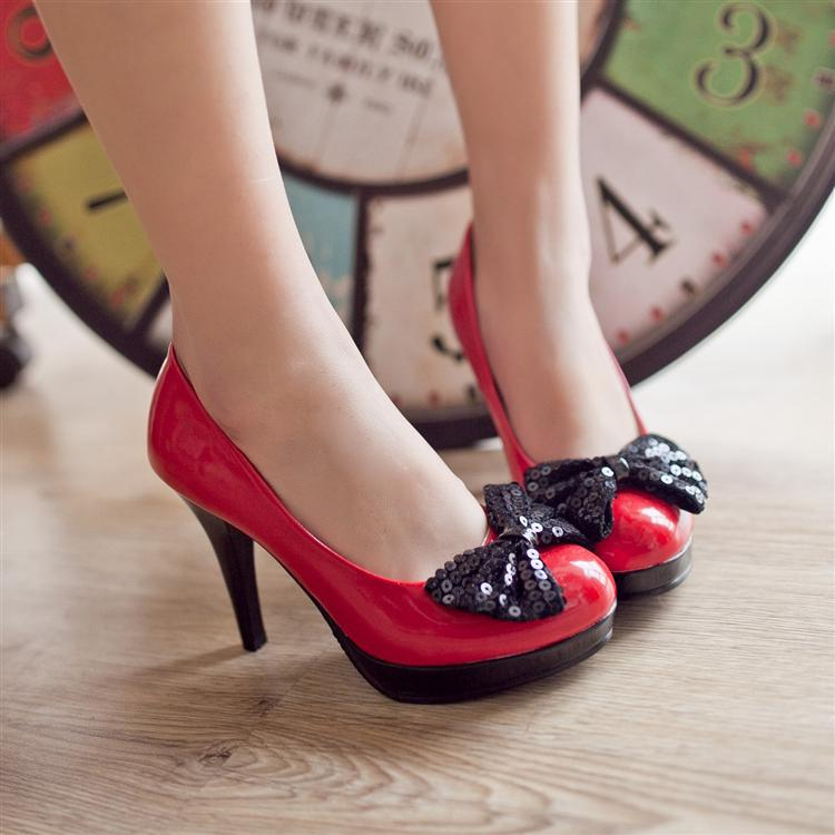 shoes female paillette bow high-heeled platform shoes red wedding