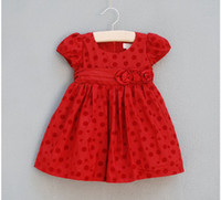 adorn cottons - baby clothes kids dress children princess dress girl full dress Wave dot Three little flower adorn