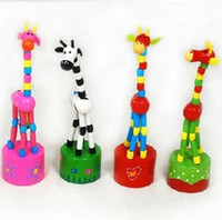 Wholesale Newest Colorful wooden toy animal standing giraffe baby toy home decoration random deliv