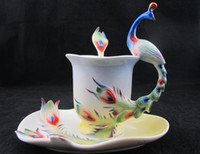 Wholesale 2pcs New Coffee Bean Mate Set Expresso Tea Cup Saucer Mocha phoenix