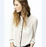 Wholesale 2013 fashion women chiffon blouses black lapel long sleeve white rice loose blouse