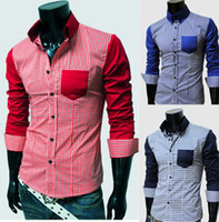 Wholesale 2013 New Fashion Top Brand Casual Men Long sleeve Shirts Plaid Block Mens Shirts M L XL XXL RD472