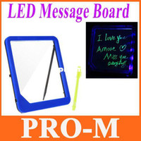 Wholesale New LED Message Board Kids Painting Writing Panel with Fluorescent Marker Pen Blue Free Dropshipping