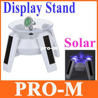 Wholesale New White Solar Powered Jewelry Phone Rotating Display Stand Turn Table with LED Light Dropshipping