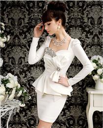 Wholesale Women white Dress shining diamond Charming Princess OL office dress set bow puff sleeves dresses