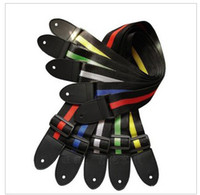 Wholesale Fashion New Durable Adjustable Nylon Stripe Guitar Strap With Soft Artificial Leather