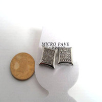 Wholesale Men s HIP HOP White Cubic Zirconia Paved Square Stud Earrings pairs Factory Price