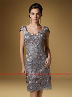 Wholesale 2013 Scoop Neck Cap Sleeves Knee Length Silver Embroidery Flowers Mother of the Bride Dresses