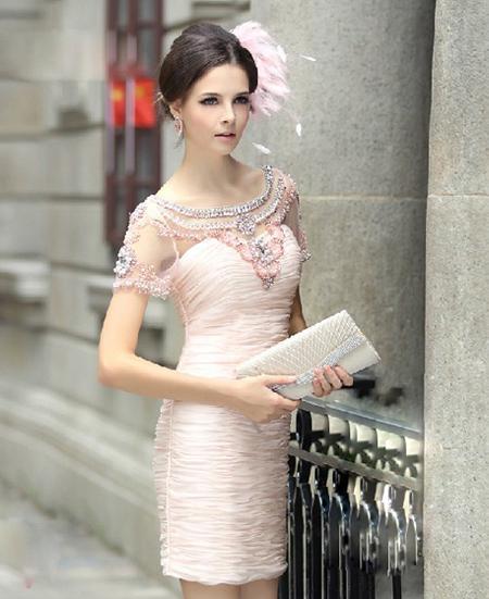 Pink Short Sleeve Cocktail Dress