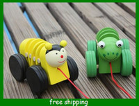 Wooden baby tractor toys - Kids Wooden Toys Cartoon Bees frog Baby Telescopic tractors Pull carts toy Infant gift