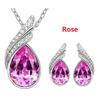 Wholesale Angel Wings Austrian Crystal Earrings amp Necklace Sets Fashion Crystal Jewelry Sets sets JS013