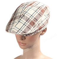 Wholesale Fashion Beige Grid Design Cricket Cap Beret Hat for Woman Ladies Men