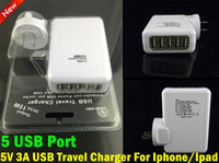 Cheap 5 USB Port AC Travel Charger 15W 5V 3A US EU AU UK Plug Wall Adapter for iPhone 5 4 Ipad Samsung HTC