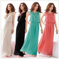 Wholesale Women Sexy Bohemian Boho Maxi Dress Princess Chiffon Long Beach Pleated Sundress Evening Dress G0144