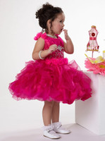 Real Photos cupcake pageant dresses - 2013 Beaded Years Hot Pink Ruffled Cupcake Flower Girls Formal Occasion Pageant Dress Dresses