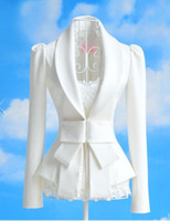 Wholesale Women s Big Bow Ultra Slim Sweet white suit lady clothing OL office suit size S M L XL high quality