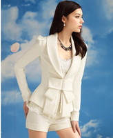 Wholesale Women s Big Bow Ultra Slim Sweet white suit lady fashion clothes OL office suit size S M L XL