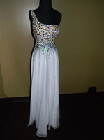 Model Pictures One-Shoulder Taffeta PROM EVENING FORMAL PAGEANT SEXY GOWN ALLURE DRESS 8 WHITE AMAZING BEADING WOW!