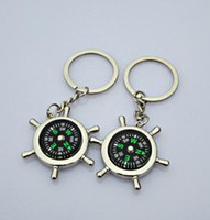 Wholesale Creative acura the rudder form compass keychain key ring can lettering