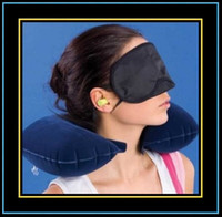 Wholesale 3 In1 Travel Set Inflatable Neck Air Cushion Pillow Eye Mask Ear Plug Amenity Kit For Trip