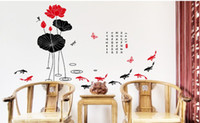 Wholesale Chinese traditional ink painting lotus can remove PVC wall stickers EMS freeshipping