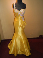 Model Pictures One-Shoulder Satin PROM EVENING FORMAL PAGEANT SEXY GOWN ALLURE DRESS 8 GOLDEN YELLOW MERMAID WOW!