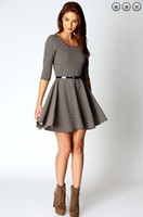 Wholesale 2013 instyle houndstooth three quarter sleeve short style round neck simple cotton women dress skirt