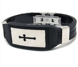 Wholesale Fashion Stainles Steel Christian Cross Black Silicon Belt Cord Bangle