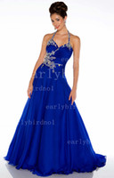 Wholesale 2013 Graduation Dresses Halter Ruffles Crystals Chiffon Royal Blue White A Line Evening Gown H