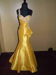 Wholesale PROM EVENING FORMAL PAGEANT SEXY GOWN ALLURE DRESS GOLDEN YELLOW MERMAID WOW