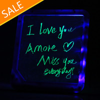 Wholesale New LED Message Board Kids Painting Writing Panel with Fluorescent Marker Pen Blue