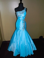 Sleeveless Appliqué Trumpet/Mermaid PROM EVENING FORMAL PAGEANT SEXY GOWN ALLURE DRESS 8 TURQUOISE FIT N FLARE WOW!