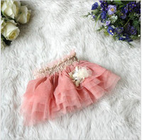 Wholesale Spring Summer Hot Sale Baby Girl s Korean Style Unique Flowers Layered Yarn Shiny Princess Skirts