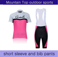 Wholesale castelli PINK womens cycling jersey short sleeve and bib pants cycling team clothing XS X