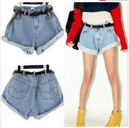 2017 2013 Vintage High Waist Denim Shorts Women Loose Wash Blue ...