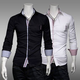 Wholesale Long Sleeve Shirt New Spring European Style Man Casual Slim Shirts Black White Size M L XL XXL