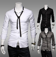 Wholesale Long Sleeve Shirt New Style Mans Spring Casual Slim Shirts With Tie Colors Black White And Grey Size M L XL XXL