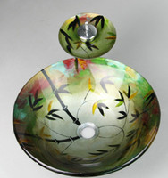 Bathroom beautiful glass paintings - Beautiful Hand Paint bathroom Wash basin Tempered Glass Sink XR1004