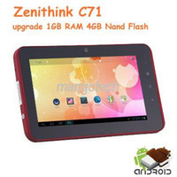 Wholesale Android ICS Tablet PC inch Capacitive Zenithink C71 MB GB Webcam HDMI