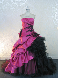 New Strapless Fuchsia taffeta and black organza lace applique flowers ruffles wedding dresses
